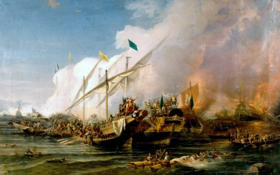 A painting of the Ottoman victory at Preveza.