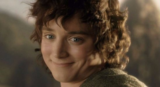 Frodo from the Lord of the Rings films, turning and smiling at the camera.