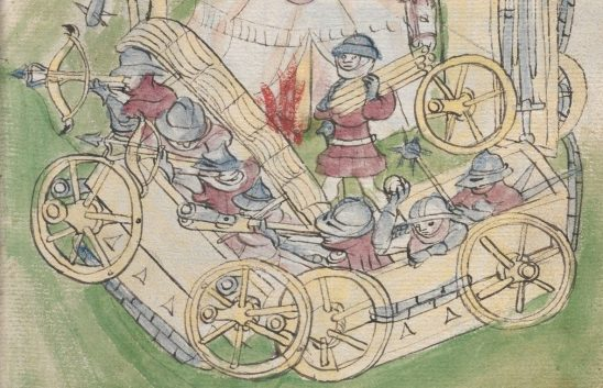 An old illustration of a Hussite war wagon.