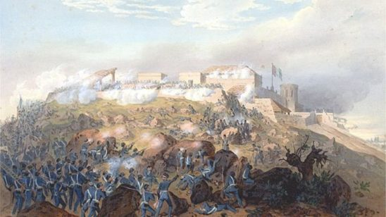 A painting of American soldiers marching up hill around rocks at the Battle of Chapultepec.