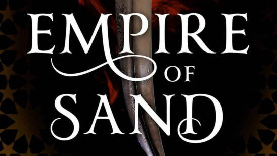 Cover art from Empire of Sand, showing the title over a curved knife.