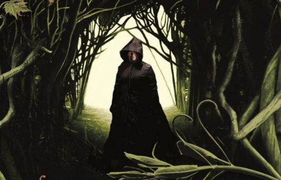 man wearing black cloak in the woods