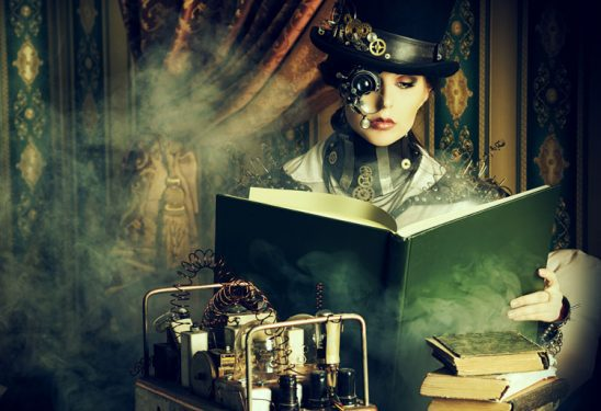 A woman dressed in a fancy steam punk outfit reads book through her monocle