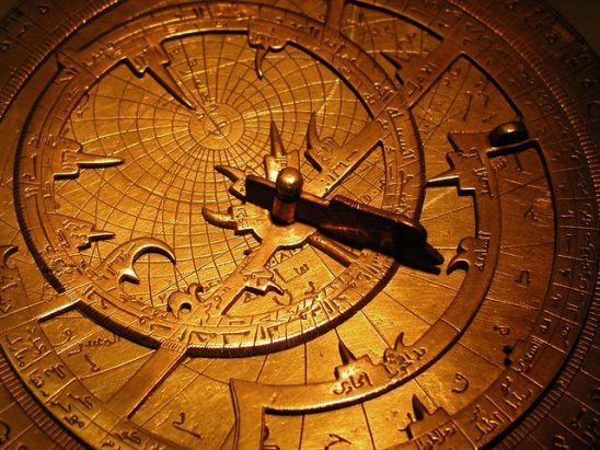 A closeup of an astrolabe.