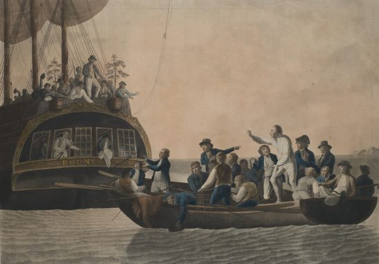 A painting of the ship's officers being put to sea in the boat from HMS Bounty.
