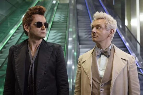 Crowley and Aziraphel looking at each other from Good Omens.