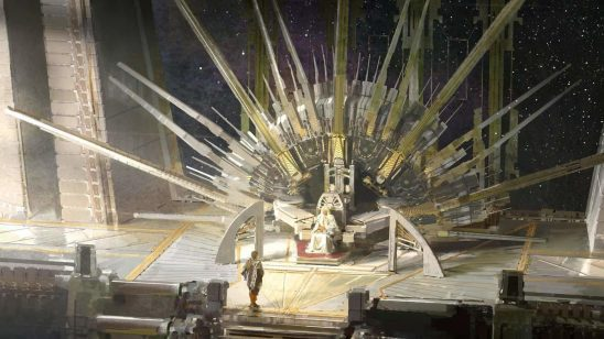 Cover art from A Memory Called Empire, with the emperor sitting on a giant technological throne.