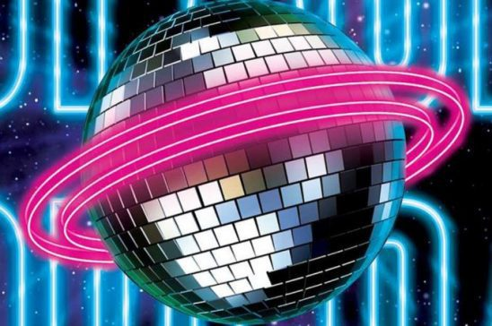 Cover art from Space Opera, showing a giant disco ball with neon rings.