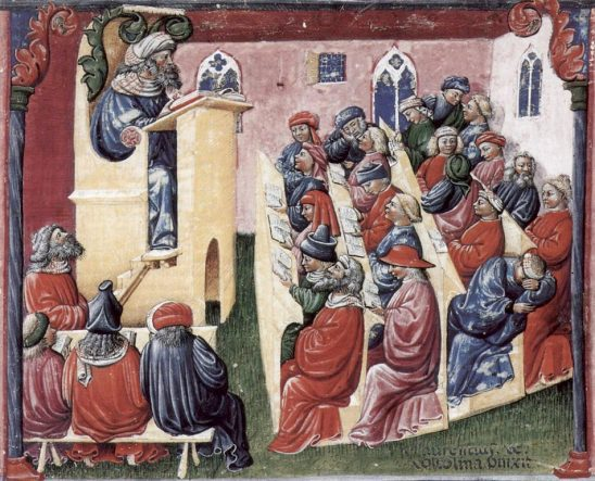 A Medieval painting of a university lecture.
