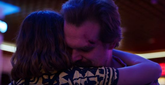 Hopper hugs his daughter, Eleven