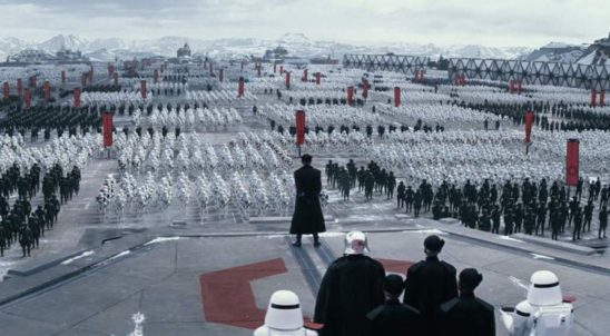 First Order troops assembled for a speech.