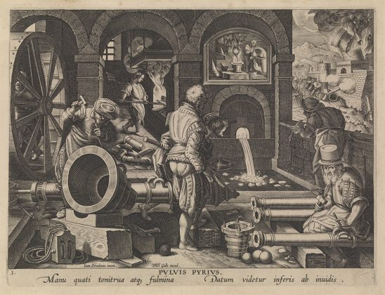 A 1600s era painting of cannons being forged.