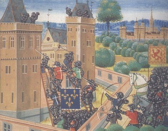 A painting of soldiers assaulting a castle.