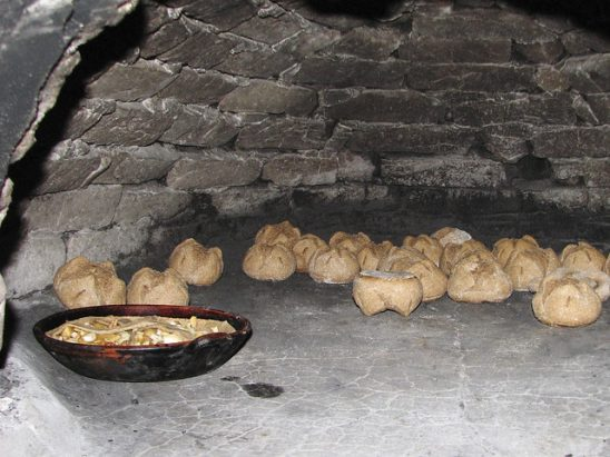 Bread in a Medieval oven.