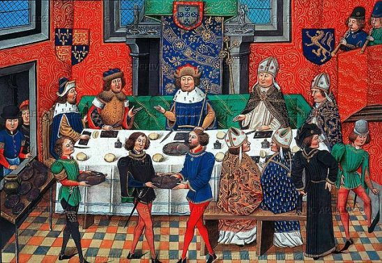 A painting of Medieval lords sitting around a table.