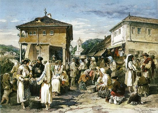 A classical painting of a market town.