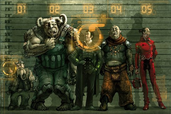 Shadowrun fantasy races in a police lineup.