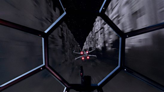 An X-Wing in the sights of a TIE fighter.