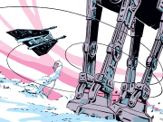 A comic with a snow speeder lassoing an AT-AT