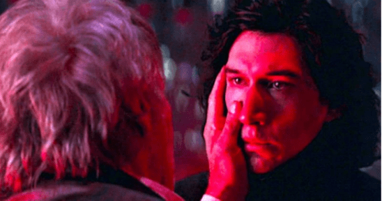 Han Solo putting his hand on Kylo's cheek.