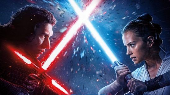Kylo and Rey clashing sabers.