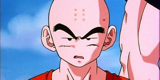 Krillin from Dragon Ball Z making an annoyed face.