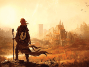 Kvothe looking at a city far off in the distance.