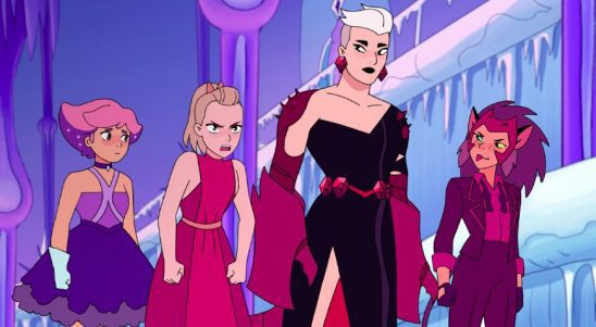 Glimmer, Adora, Scorpia, and Catra dressed up for the Princess Ball.