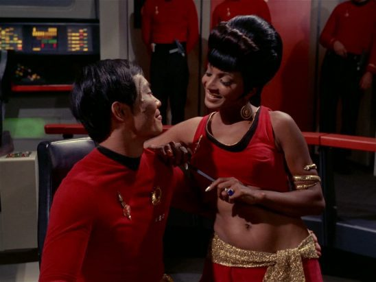 Uhura messing with Mirror Sulu