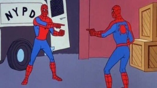 Two cartoon Spider-Mans pointing at each other.