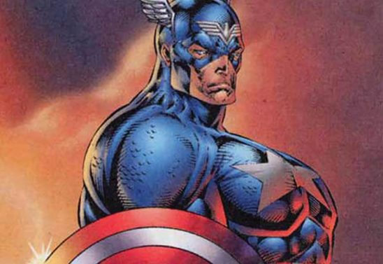 Captain America with absurdly developed chest muscles.