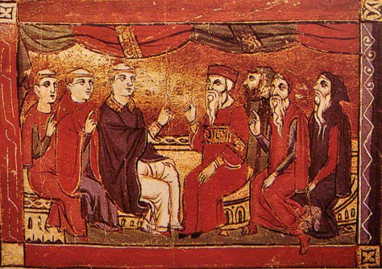 A painting of bearded men negotiating.