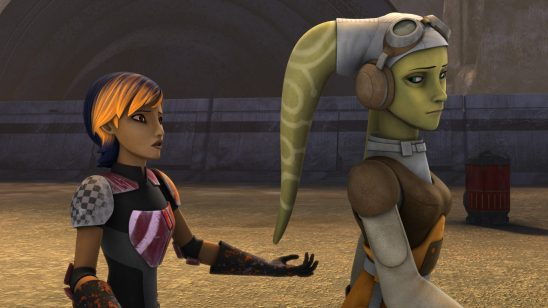 A young Mandalorian woman with colorful hair and armor beseeches a Twilek woman