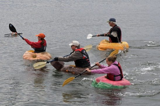 Four people paddling boats made of pumpkin.