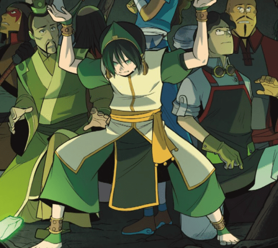 Toph holding up a collapsing cavern.