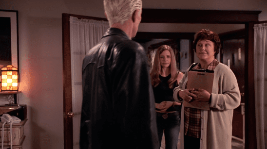 Buffy and Spike talking to a social worker.