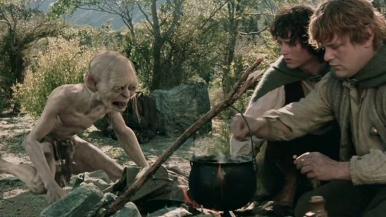 Gollum upset that Sam is going to cook rabbits.