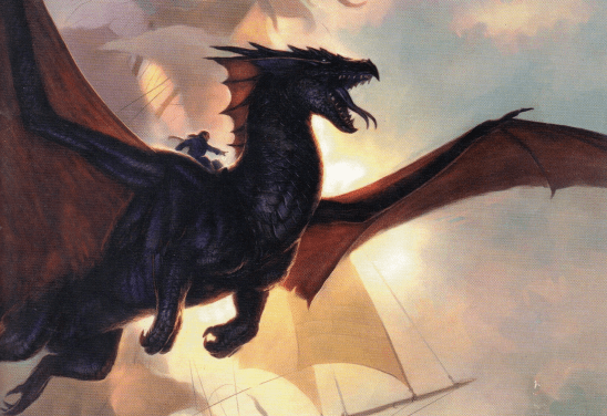 A dragon flying in front of a Napoleonic warship.