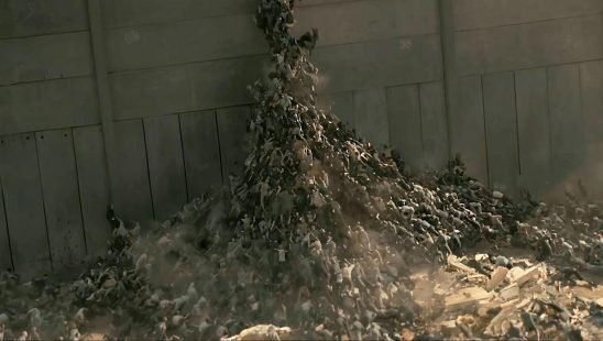 Zombies climbing a wall in WWZ