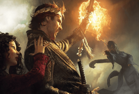 Rand deflecting a fireball from the Wheel of Time