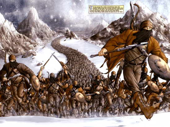 A long column of identically dressed Aiel in the snow.