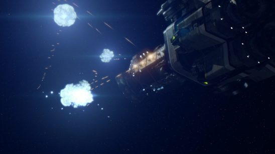 A warship firing all weapons in The Expanse