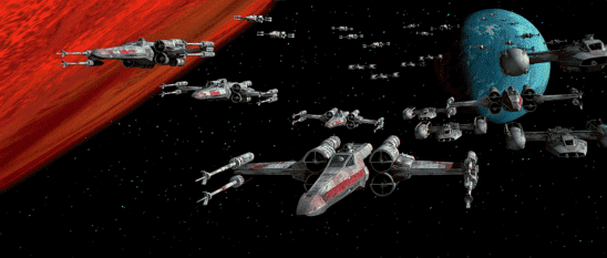 X-Wings and Y-Wings flying through space.