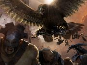 A giant eagle attacking orcs.