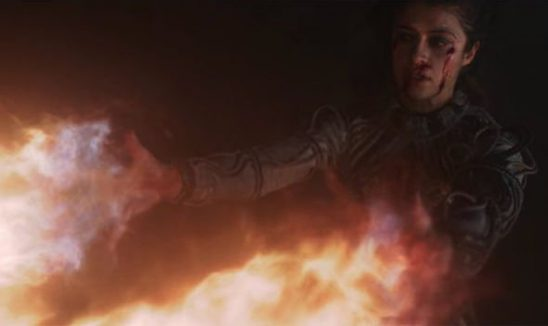 Yennifer from The Witcher shooting fire from her hands.