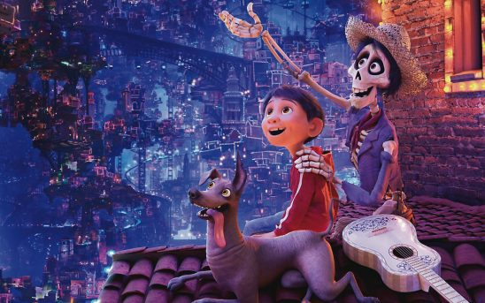 The characters in Pixar's Coco look over the Land of the Dead