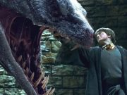 Harry Potter fights off a giant Basilisk at the end of book two