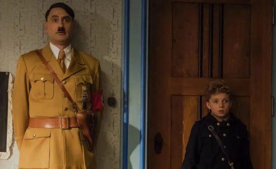 A scene from Jojo Rabbit with a goofy imaginary Hitler