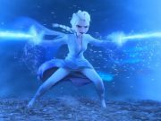 Elsa shooting beams of ice into a tornado around her.
