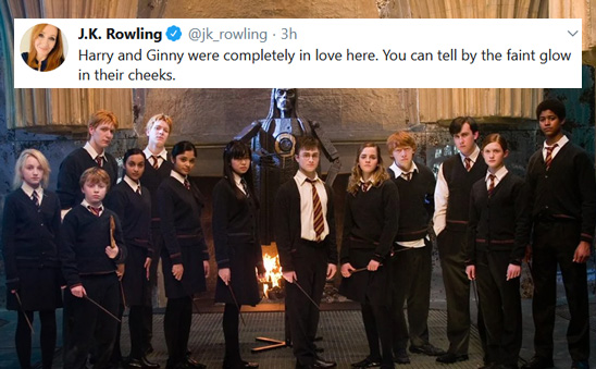 A group of Howarts students poses for the camera, Harry and Ginny among them. A fake tweet from Rowling states: Harry and Ginny are completely in love here. You can tell by the faint glow in their cheeks.